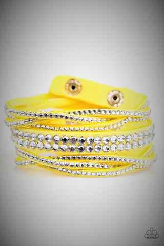 Paparazzi Accessories All Hairspray and Glitter Yellow Bracelet