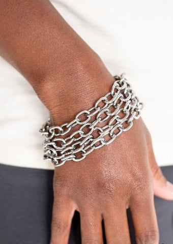 Paparazzi Accessories Fast Ball Silver Bracelet