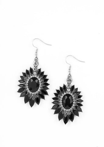 Paparazzi Accessories Big Time Twinkle Black Earrings