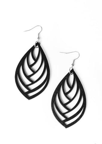 Paparazzi Accessories Out of the Woodwork Black Earrings