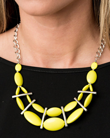 Paparazzi Accessories Law of the Jungle Yellow Necklace Set