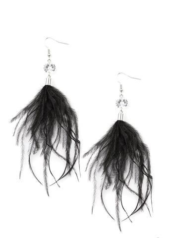 Paparazzi Accessories Feathered Flamboyance Black Earrings