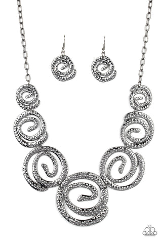 Paparazzi Accessories Statement Swirl Black Necklace Set