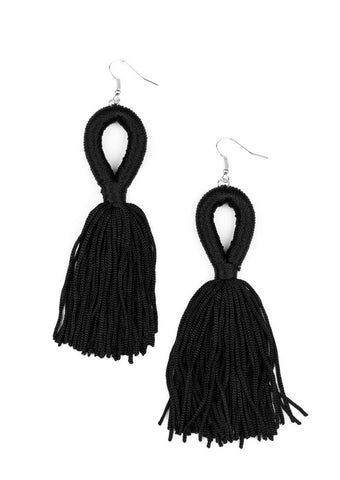 Paparazzi Accessories Tassels and Tiaras Black Earrings