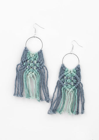 Paparazzi Accessories Macrame Rainbow Blue Earrings