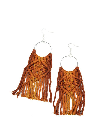 Paparazzi Accessories Macrame Rainbow Brown Earrings