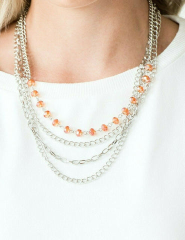 Paparazzi Accessories Extravagant Elegance Orange Necklace Set