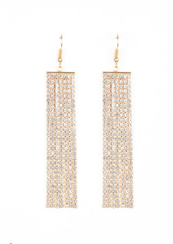 Paparazzi Accessories Top-Down Shimmer Gold Earrings
