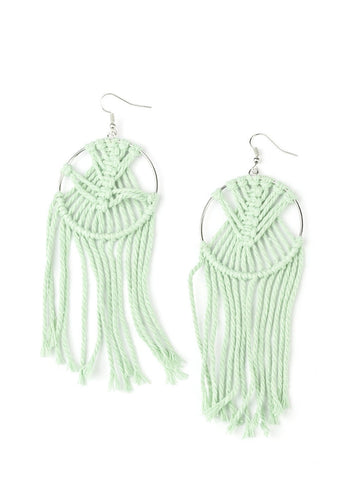 Paparazzi Accessories Green MACRAME, Myself, and I Earrings
