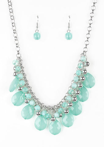 Paparazzi Accessories Trending Tropicana Green Teardrop Silver Bead Necklace Set