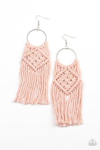 Paparazzi Accessories Macrame Rainbow Pink Earrings