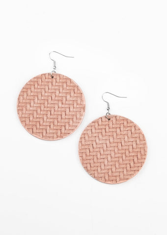 Paparazzi Accessories Plaited Plains Pink Earrings