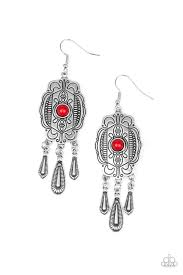 Paparazzi Accessories Natural Native Red Stone Earrings