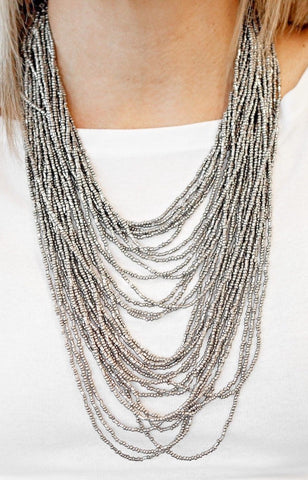 Paparazzi Accessories Dauntless Dazzle Silver Necklace Set
