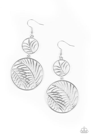 Paparazzi Accessories Palm Oasis Silver Earrings