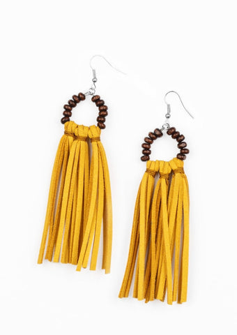 Paparazzi Accessories Easy To PerSUEDE Yellow Earrings