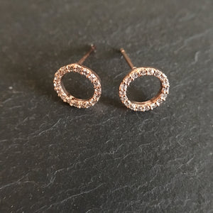Rose Gold open circle earrings