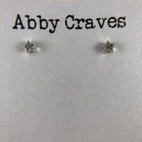silver tiny star earrings