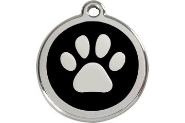 Paw Print Red Dingo Stainless Steel & Enamel Designer ID Tags