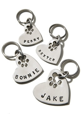 Sterling Silver Heart with Paw Cutout ID Tag