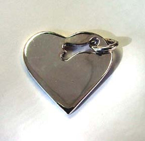 Sterling Silver Heart with Bone Cutout ID Tag