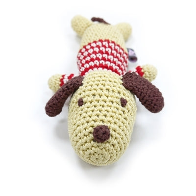 Lazy Dog Crochet Knit Squeaker Toy