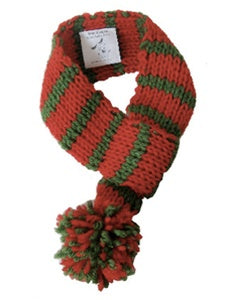 Red and Green Pom Pom Scarf