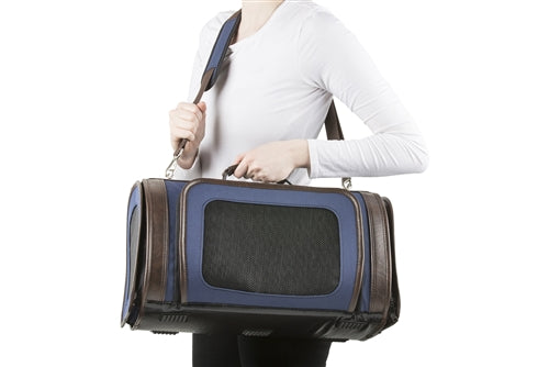 Petote Kelle Bag - Navy with Brown Trim