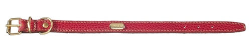 Flat Padded Calfskin Collar - Red