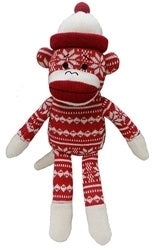 Red and White Snowflake Holiday Sock Monkey