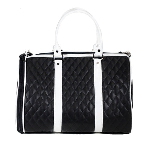 Black and White Quilted Luxe JL Duffel Bag