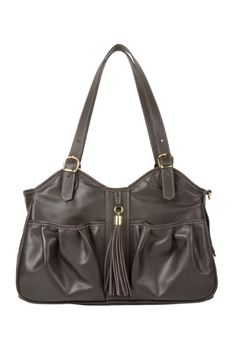 Petote Metro Bag - Chocolate Leather With Tassel