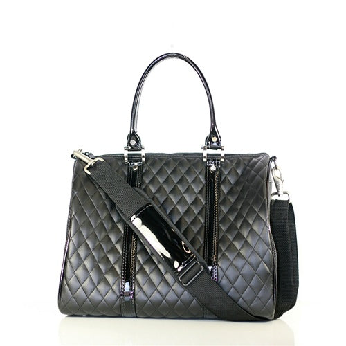 Black Quilted Luxe JL Duffel Bag