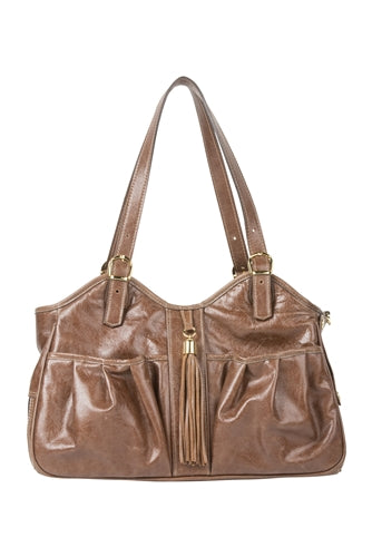 Petote Metro Bag - Toffee Leather With Tassel