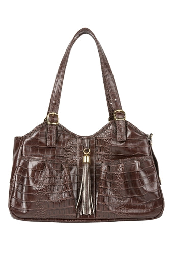 Petote Metro Bag - Brown Croco
