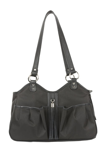 Petote Metro Bag - Black Sable With Leather Trim & Tassel