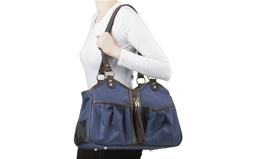Petote Metro Bag - Navy With Brown Leather Trim & Tassel
