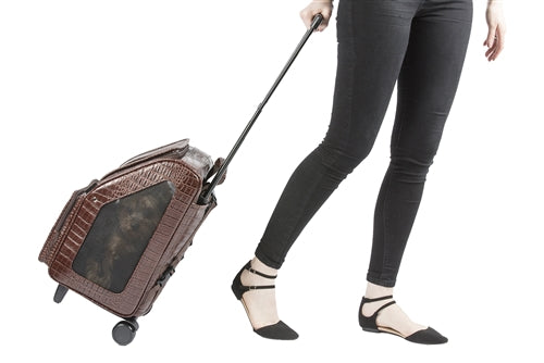 Petote Traveler Bag: Rio - Brown Croco