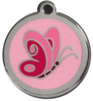Pink Butterfly Red Dingo Stainless Steel & Enamel Designer ID Tags