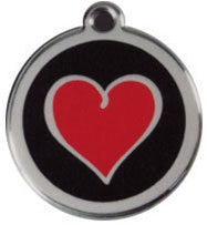 Heart ~ Black Red Dingo Stainless Steel & Enamel Designer ID Tags