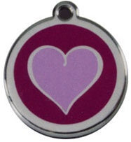 Heart ~ Purple Red Dingo Stainless Steel & Enamel Designer ID Tags