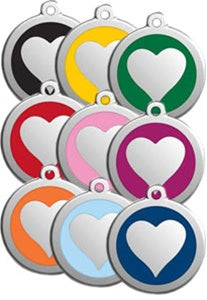 Classic Heart Red Dingo Stainless Steel & Enamel Designer ID Tags