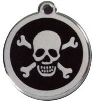 Skull & Crossbones Red Dingo Stainless Steel & Enamel Designer ID Tags