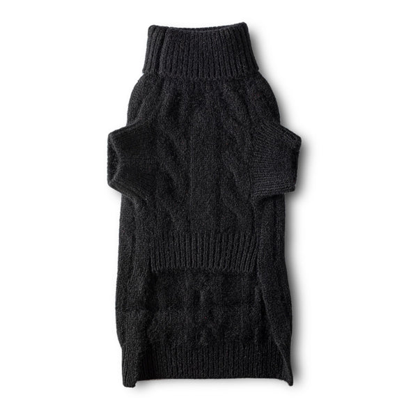 Cashmere Cable Turtleneck Sweater - Black
