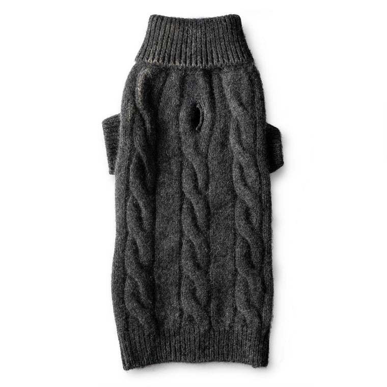 Cashmere Cable Turtleneck Sweater - Grey