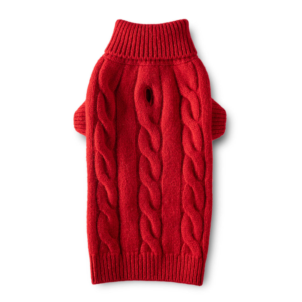 Cashmere Cable Turtleneck Sweater - Red