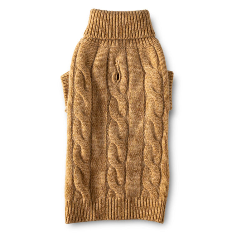 Cashmere Cable Turtleneck Sweater - Camel