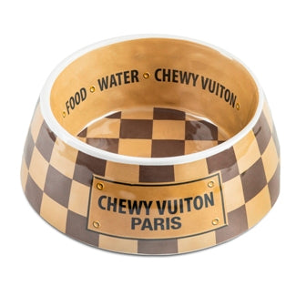 Chewy Vuiton Checker Dog Bowl