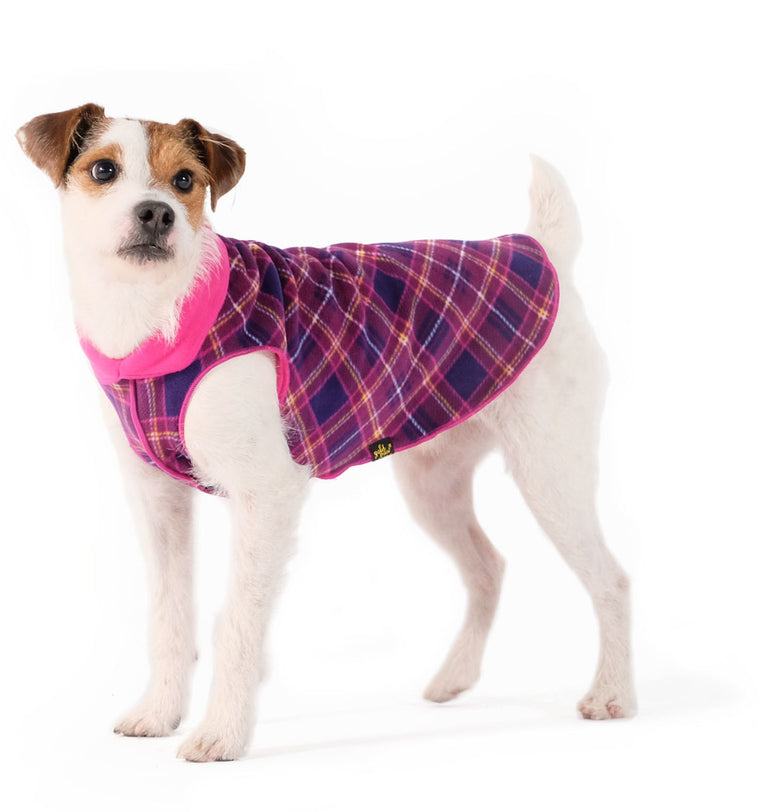 Duluth Double Fleece - Mulberry Plaid w/ Fuchsia Reverse