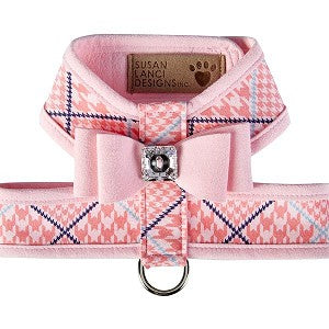 Big Bow Tinkie Harness - Houndstooth Pink